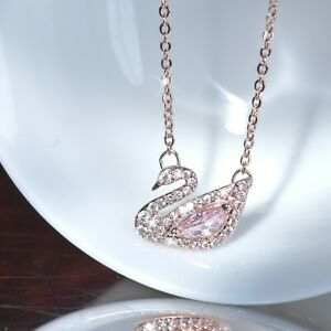 18k-rose-gold-gf-made-with-Swarovski-crystal-swan-pendant-chain-necklace-SMALL