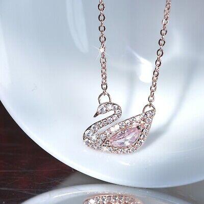 mundo barro Gobernar  18k rose gold gf made with Swarovski crystal swan pendant chain necklace  SMALL | eBay
