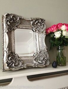 Heavily Ornate Imposing Antique Wall Mirror Small But Stunning Silver Ivory Go Ebay