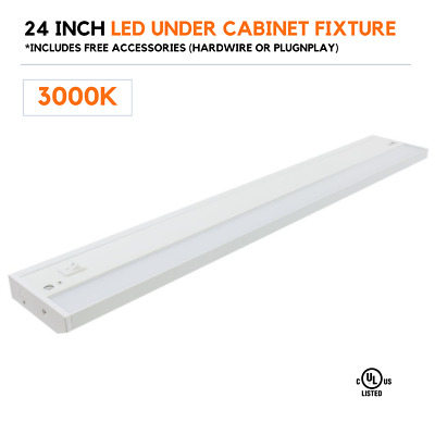 12W 2 Ft Under Cabinet Kitchen T5 LED Tube Fixture US Plug with Switch 6500K