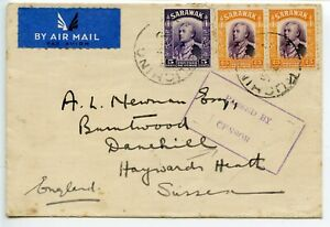 SARAWAK-WWII-Airmail-cover-5c-2x-25c-to-Sussex-boxed-PASSED-BY-CENSOR-spots
