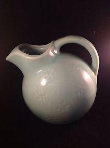 Vintage Shawnee Pottery Snowflake Ball Jar Pitcher Aqua USA Mark