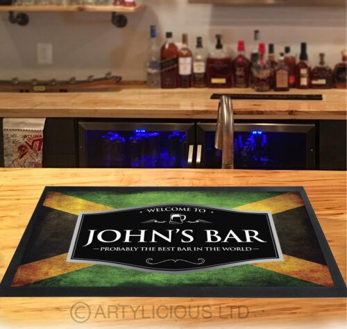 Personalised Jamaican Flag Red /& Silver beer label Beer label Bar runner