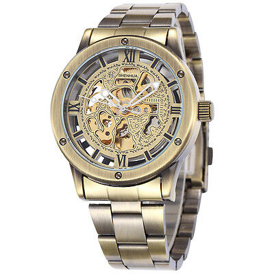 Classic Retro Golden Dial Mens Watches Vintage Skeleton Mechanical Wrist Watch