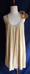 Anthropologie-Dolan-Brown-Boho-Silk-Cotton-Crinkle-Gauze-Bubble-Hem-Shift-Dress