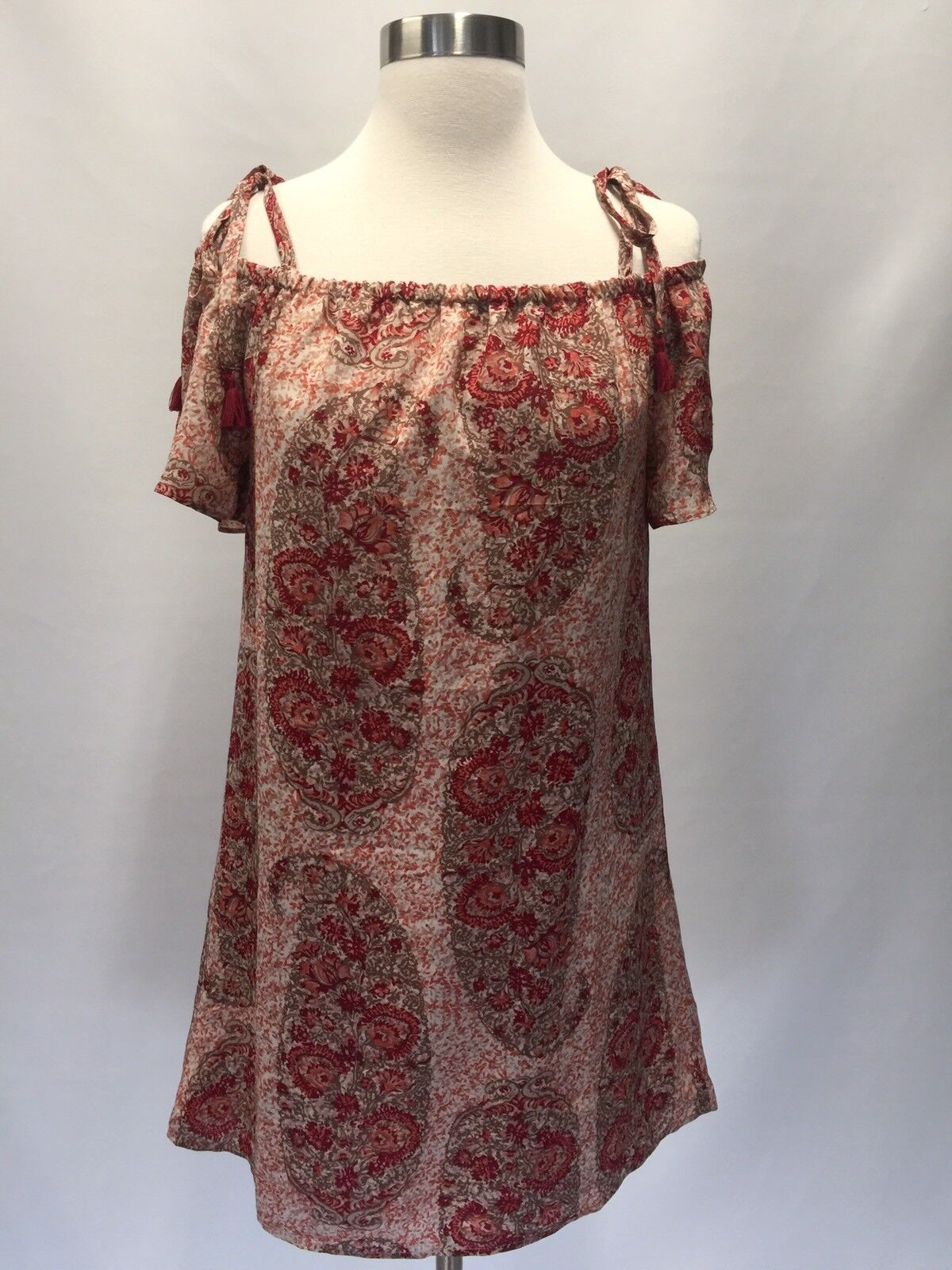 Madewell silk cold-shoulder dress watercolor paisley,giant dusty bluesh  XXS