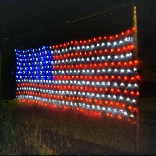 LED Net Light American Flag String Lights Decoration Waterproof 110V USA Plug