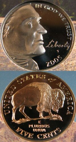 2005-S Jefferson Nickel Deep Cameo Proof Buffalo Coin
