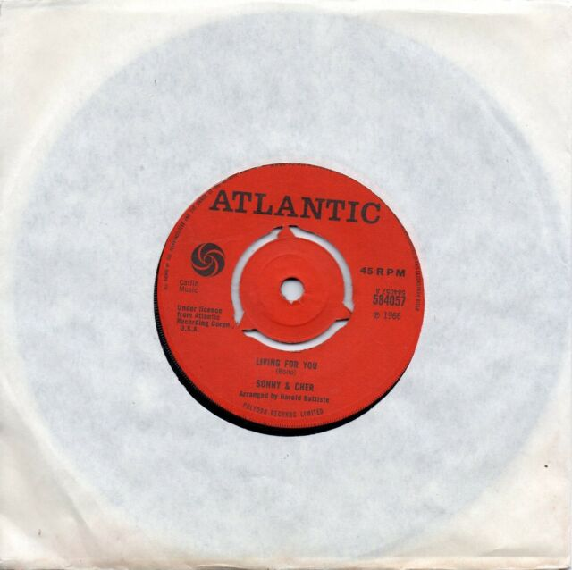 SONNY & CHER     LIVING FOR YOU / TURN AROUND   UK RED ATLANTIC     60s POP