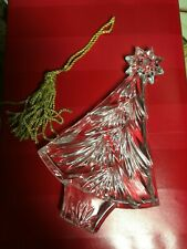 Waterford 2013 Clear Crystal Christmas Tree Ornament w/Gold Tassel