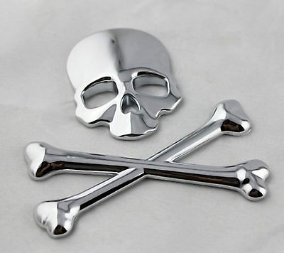 3D Solid Metal Skull Badge Sticker On Tailgate Tank Cap For 4WD Jeep Land Rover