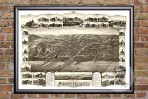 Vintage-Atlantic-Highlands-NJ-Map-1894-Historic-New-Jersey-Art-Old-Industrial
