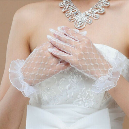 Short Wedding Lace Gloves White Bridal Fingered Gloves Accessories Party Prom