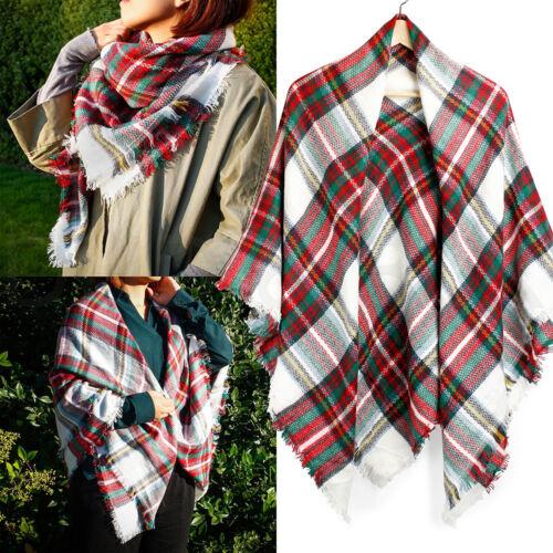 Women Long Blanket Oversized Tartan Scarf Wrap Shawl Plaid Cozy Checked Pashmina