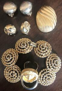 Details zu SPAR TIPP Schmuck Set 7tlg goldfarbig: 5x Ohrclips, Armband, Mond Ring 7tlg