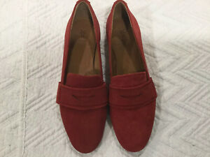 FRYE Terri Penny Womens Red Suede Flat Loafers, Size 5.5 ...