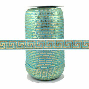100 Yard Spool - Fold Over Elastic - Teal with Gold Metallic Maze - 5/8in Wide