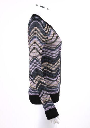 Sweater Chevron Hals Button 2 Strik Missoni Størrelse Cardigan Up Langærmet Besæt M xq4Rwnazwp