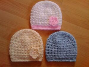 Image is loading Handmade-Hand-Crocheted-Baby-Unisex-V-Stitch-Beanie- 8c5a3ab94b5