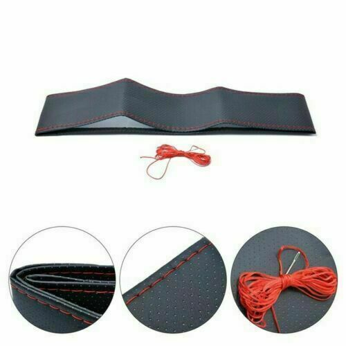 38cm Universal DIY Car Black Steering Wheel Cover Suede Super Fiber Leather
