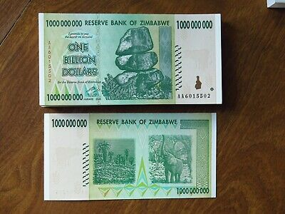 Zimbabwe  one billion 1,000,000,000 dollar note bill paper money UNC