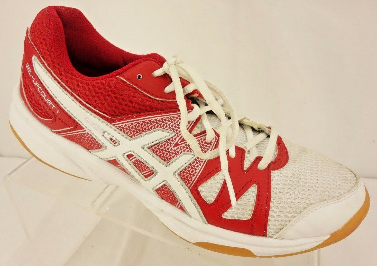 ASICS 'Gel-Upcourt 1' Red & White Mesh Lace Up Athletic Sneaker Women's 7.5 M
