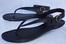 ec4711a83 Sz 10 Tory Burch Minnie Travel Convertible Black Leather Flat Sandal Shoes