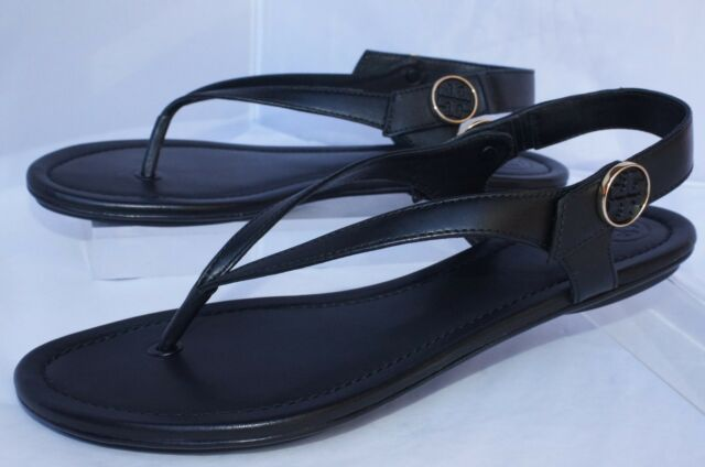 122ce5ecb51494 Sz 10 Tory Burch Minnie Travel Convertible Black Leather Flat Sandal ...