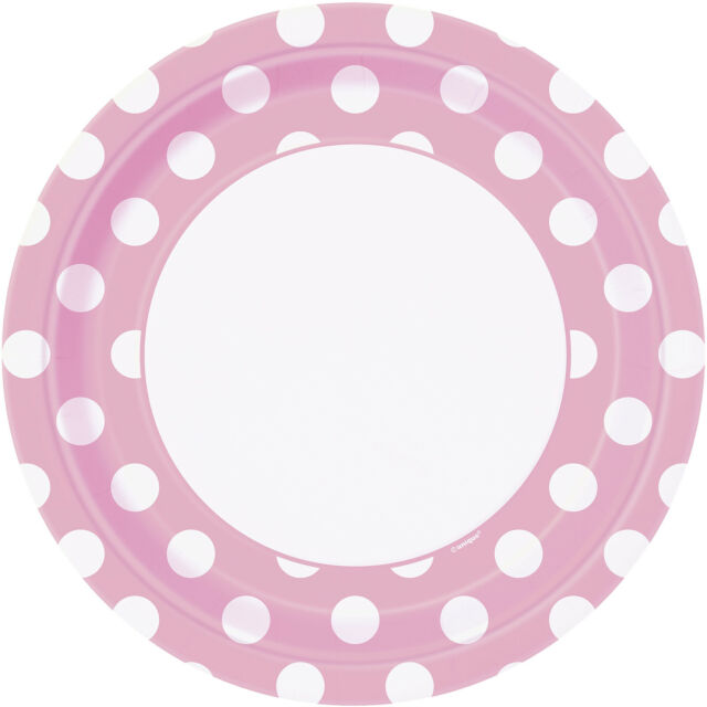 "Polka Dot - 8 Round Paper PLATES {9""/23cm} Spots Spotty Birthday Party Supplies"