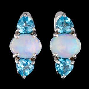 100% Natural Ethiopian Fire + + 9x7mm Opale & Suisse Topaze Bleue Argent 925 Boucle D'oreille-afficher Le Titre D'origine