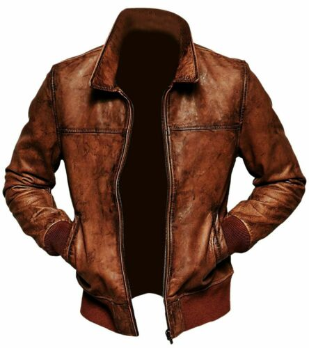 MENS BIKER MOTORCYCLE DISTRESSED BROWN BOMBER WINTER LEATHER JACKET XXS-4XL NEW