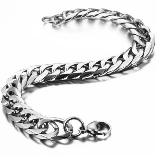 "10mm Silver Stainless Steel Cuban Curb Link Chain Men Bracelet Biker Bangle 8.7/"""