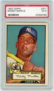 Details About Mickey Mantle 1952 Topps Baseball Rookie Card 311 Psa Graded Ex 5