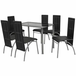 Image Is Loading VidaXL Black Metal 7 Pcs Dining Set Table