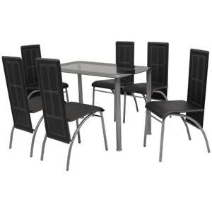 vidaXL Black Metal 7 pcs Dining Set Table 6 Chairs Kitchen Dining ...