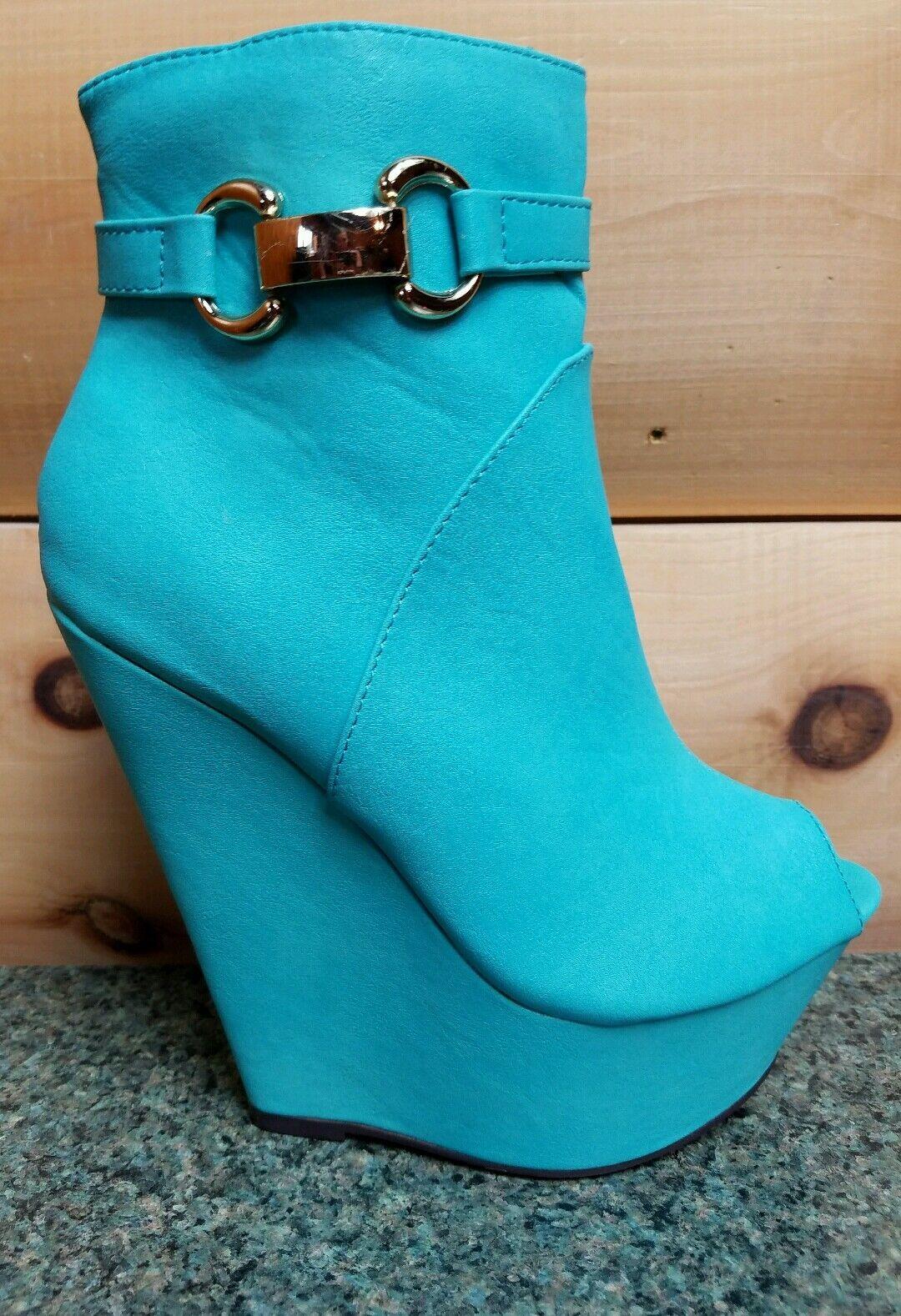 Mona mia India Tobillo De Cuña Con Plataforma Puntera Abierta Zapatos bota de verde menta