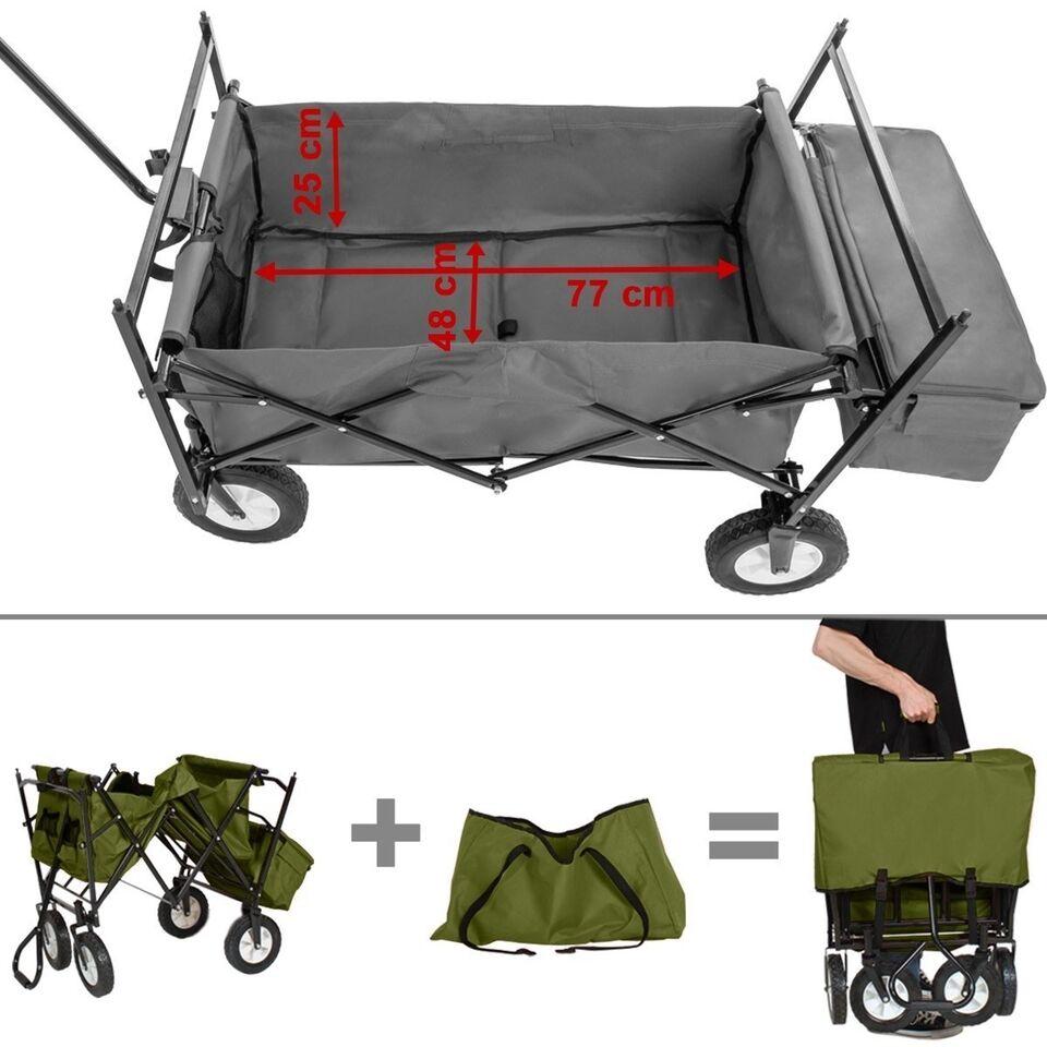 Foldbar trækvogn med tag inkl. taske grøn