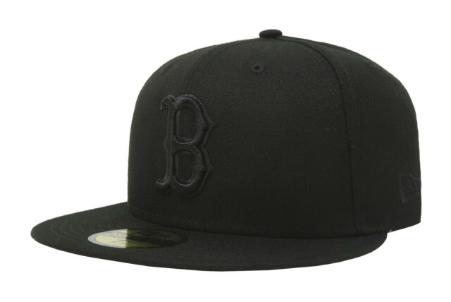 e111c434690 New Era 59Fifty MLB Cap Boston Red Sox Mens Adult Black on Black Fitted Hat  5950