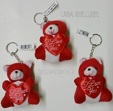 """3 Red Soft Teddy Bears KEYCHAIN with Red Heart """"I Love You""""  Key Chains"""