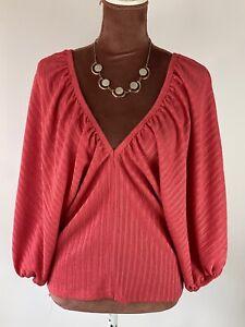 Zara-Balloon-Sleeves-Elegant-Boho-Casual-Work-Chic-Blouse-Top-Shirt-Size-S