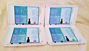 4 Black Cat Design Imports Tip Coin Trinket Trays Catherine Piret 4x6 Melamine