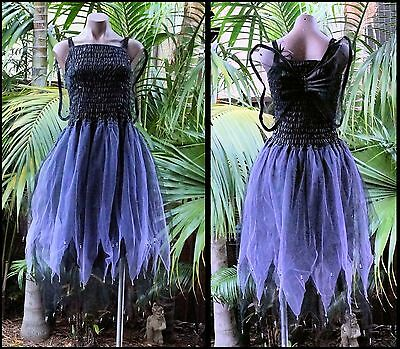 Fairy Dress Party Costume with Wings – WOMEN'S ONE SIZE - Black/Lilac Witch