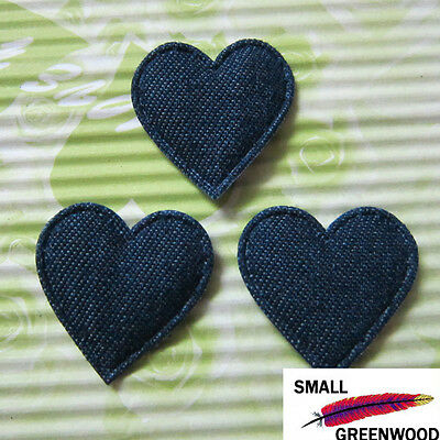 "(U Pick) Wholesale 50-500 Pcs. 1-1/8"" Padded Blue Denim Heart Appliques H080"