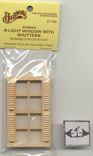 Window 8-Light w// Shutters Half Scale 1:24 Dollhouse wooden #H5003 Houseworks