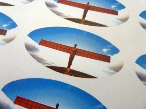 Stickers for Gift Wrap Cards Angel of the North Oval Seal Labels Envelopes