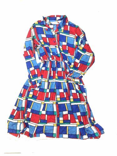 Vintage Dress Size 16 Mondrian Geometric Print Uni