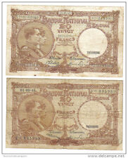 belgio belgium 20 francs 2 biglietti diversii lotto 869
