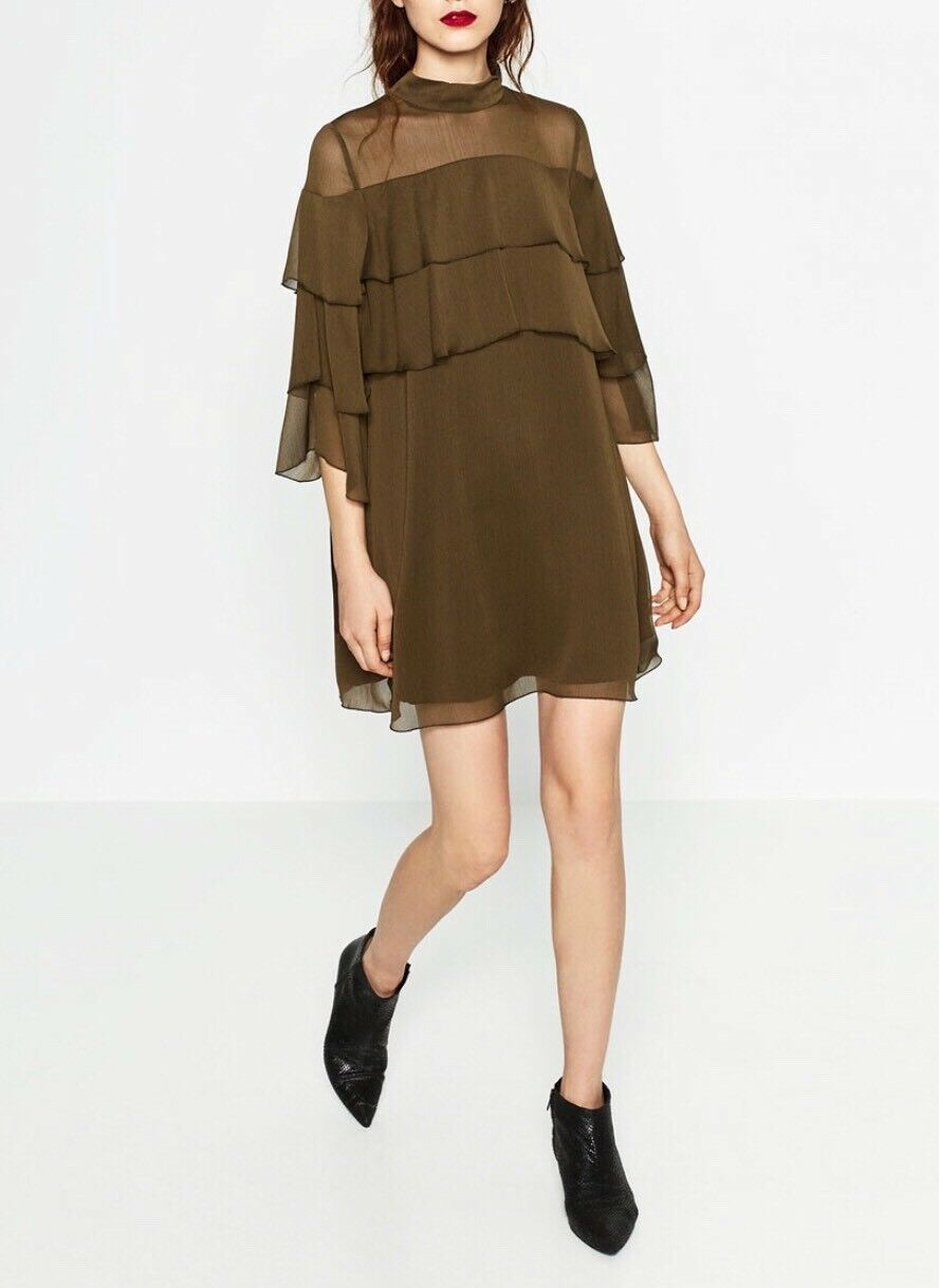 NEW Zara Short Frilled Dress Sheer Shoulder Khaki 9878 125 XS S Blogger's fav