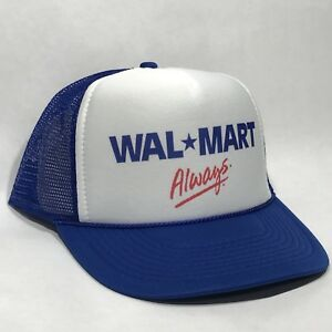 Wal-Mart-Always-Employee-Trucker-Hat-Vintage-Retro-Blue-amp-White-Cap