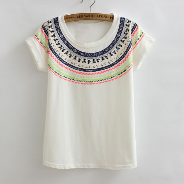 Women's  Loose Cotton Traditional Print  Short Sleeve Tee Blouse Tops T-Shirt